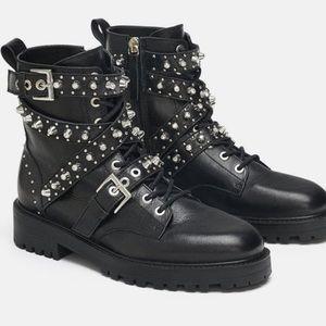 Zara combat boots (pearl detail)